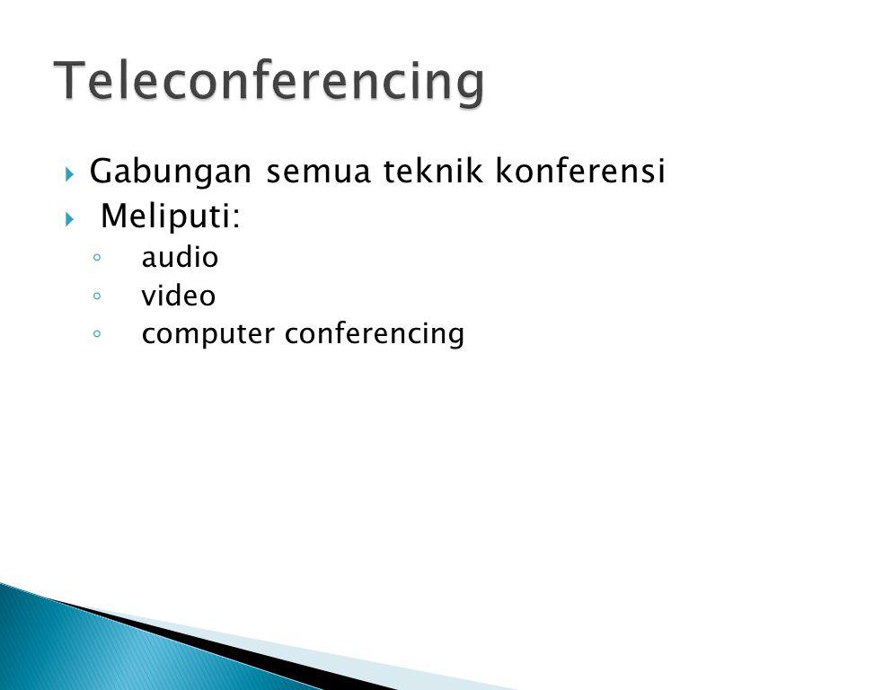  Gabungan semua teknik konferensi  Meliputi: ◦ audio ◦ video ◦ computer conferencing