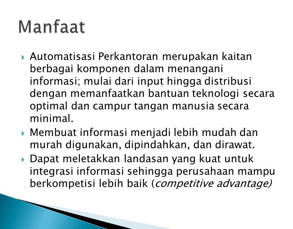  Automatisasi Perkantoran merupakan kaitan berbagai komponen dalam menangani informasi; mulai dari input hingga distribusi dengan memanfaatkan bantua