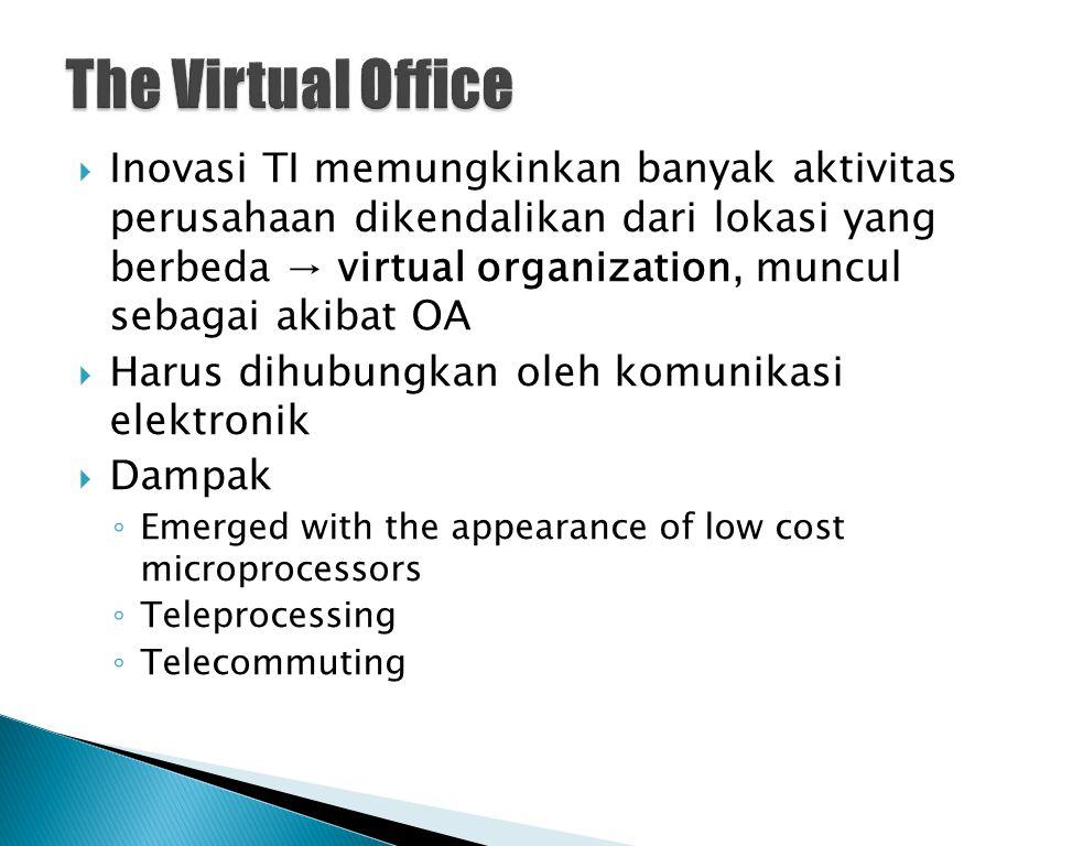  Inovasi TI memungkinkan banyak aktivitas perusahaan dikendalikan dari lokasi yang berbeda → virtual organization, muncul sebagai akibat OA  Harus d