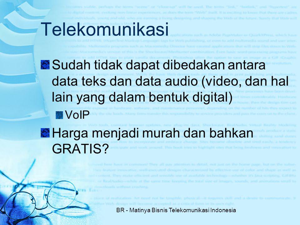 BR - Matinya Bisnis Telekomunikasi Indonesia Telekomunikasi Sudah tidak dapat dibedakan antara data teks dan data audio (video, dan hal lain yang dalam bentuk digital) VoIP Harga menjadi murah dan bahkan GRATIS?