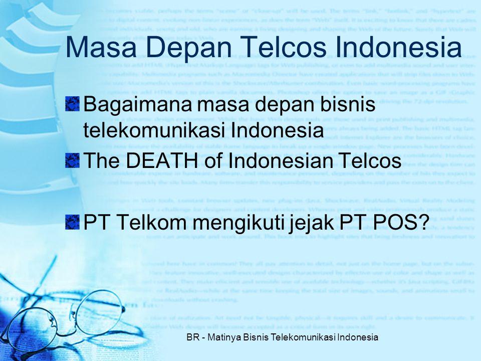 BR - Matinya Bisnis Telekomunikasi Indonesia Masa Depan Telcos Indonesia Bagaimana masa depan bisnis telekomunikasi Indonesia The DEATH of Indonesian Telcos PT Telkom mengikuti jejak PT POS?