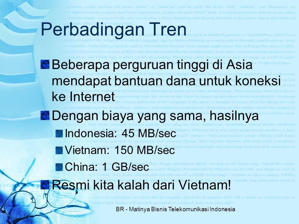 BR - Matinya Bisnis Telekomunikasi Indonesia Perbadingan Tren Beberapa perguruan tinggi di Asia mendapat bantuan dana untuk koneksi ke Internet Dengan biaya yang sama, hasilnya Indonesia: 45 MB/sec Vietnam: 150 MB/sec China: 1 GB/sec Resmi kita kalah dari Vietnam!