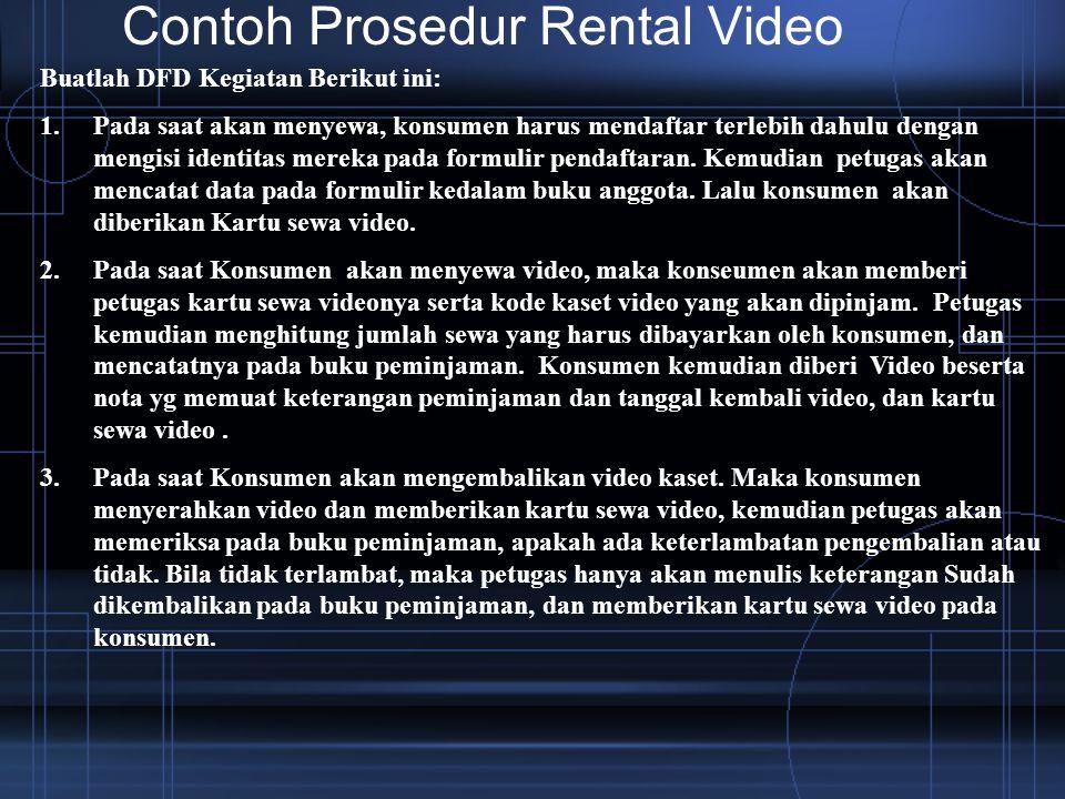 Contoh Prosedur Rental Video Buatlah DFD Kegiatan Berikut ini: 1.Pada saat akan menyewa, konsumen harus mendaftar terlebih dahulu dengan mengisi ident