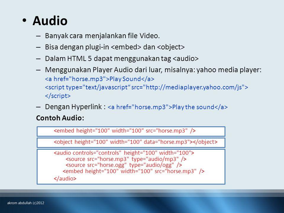 • Audio – Banyak cara menjalankan file Video.