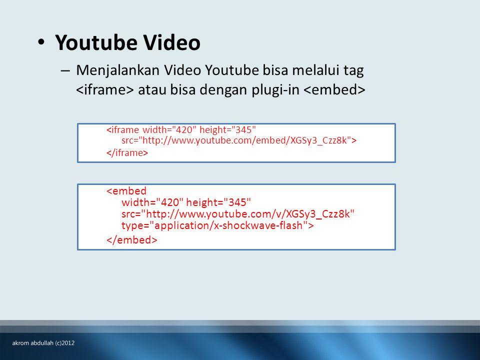 • Youtube Video – Menjalankan Video Youtube bisa melalui tag atau bisa dengan plugi-in
