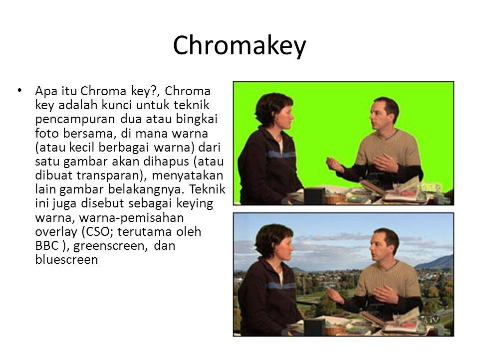 Chromakey • Apa itu Chroma key?, Chroma key adalah kunci untuk teknik pencampuran dua atau bingkai foto bersama, di mana warna (atau kecil berbagai wa