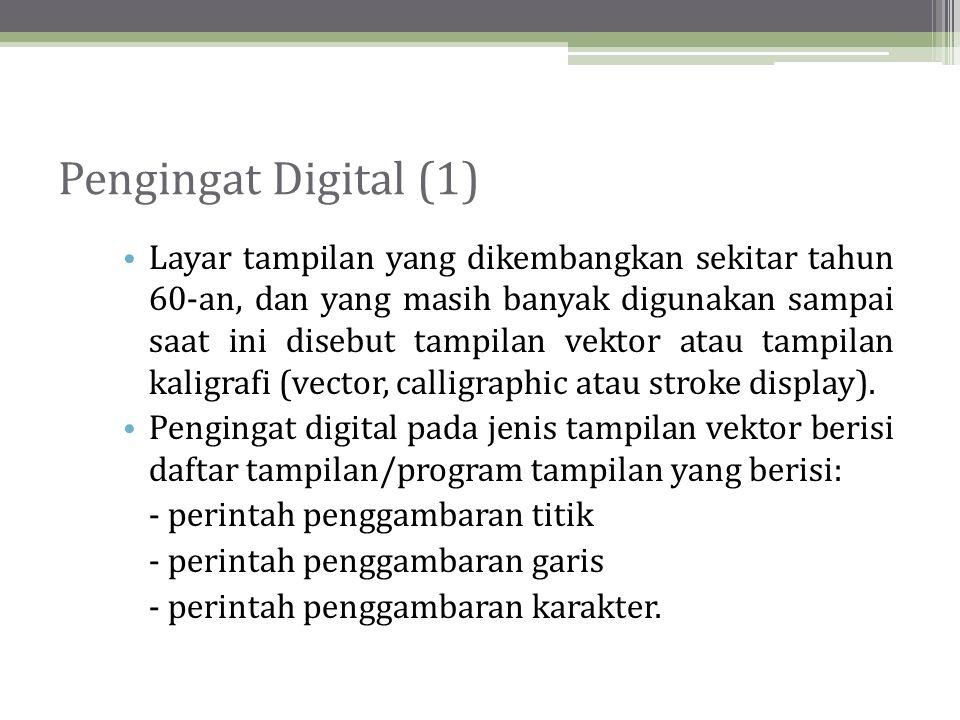 Pengingat Digital (2) • Pada pengingat digital, citra grafis yang akan ditampilkan disimpan sebagai pola bit, sehingga gambar bisa dibentuk sesuai keinginan.