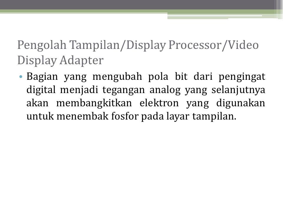 Jenis-Jenis Adapter Tampilan • Adapter tampilan yang banyak dipakai untuk komputer pribadi antara lain: - Monochrome Display Adapter (MDA) - Color Graphics Adapter (CGA) - Multi-Color Graphics Array (MCGA) - Enhanced Graphics Adapter (EGA) - Video Graphics Array (VGA) - Super Video Graphics Array (SVGA)