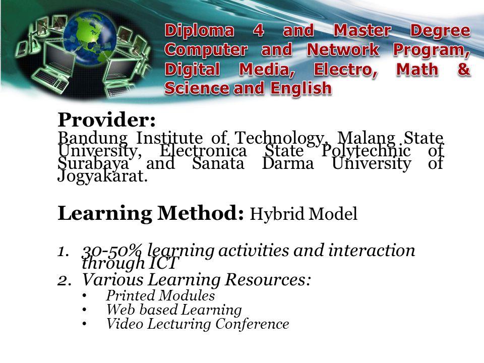 Provider: Bandung Institute of Technology, Malang State University, Electronica State Polytechnic of Surabaya and Sanata Darma University of Jogyakara