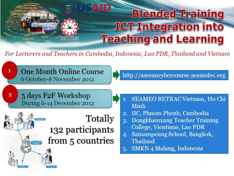 For Lecturers and Teachers in Cambodia, Indonesia, Lao PDR, Thailand and Vietnam One Month Online Course 6 October-8 November 2012 1 5 days F2F Workshop During 6-14 December 2012 2 http://aseeancybercourse.seamolec.org 1.SEAMEO RETRAC Vietnam, Ho Chi Minh 2.IIC, Phnom Phenh, Cambodia 3.Dongkhamxang Teacher Training College, Vientiane, Lao PDR 4.Sainampeung School, Bangkok, Thailand 5.SMKN 4 Malang, Indonesia Totally 132 participants from 5 countries