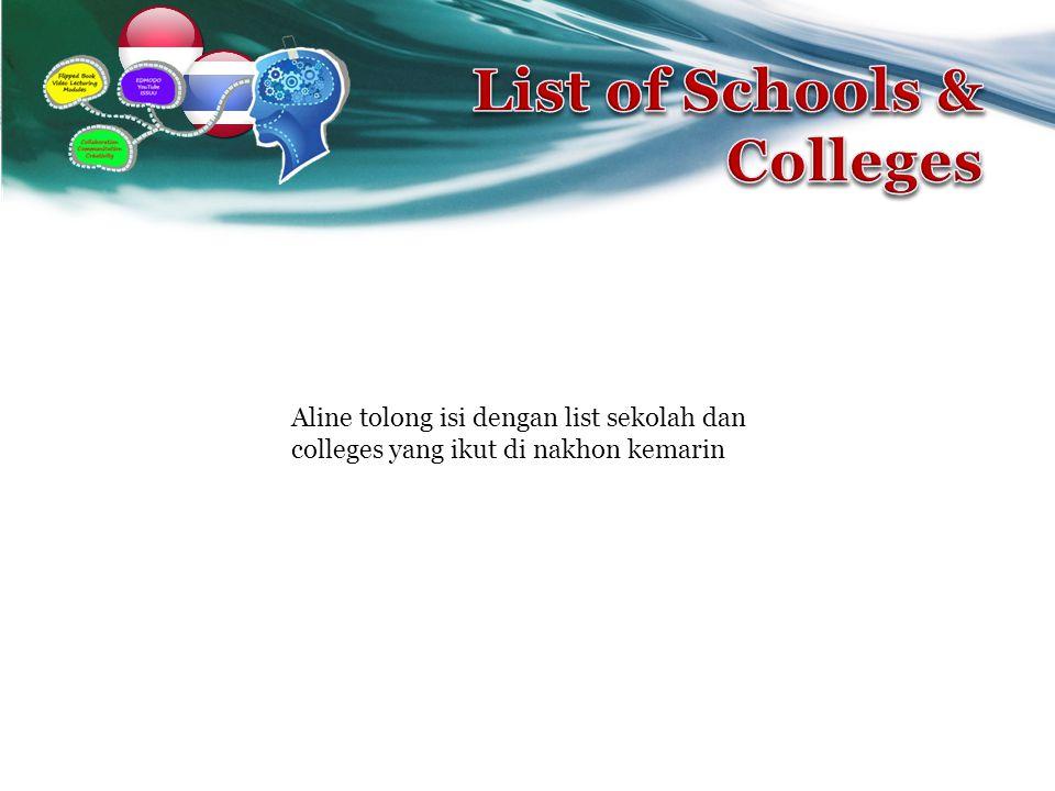 Aline tolong isi dengan list sekolah dan colleges yang ikut di nakhon kemarin