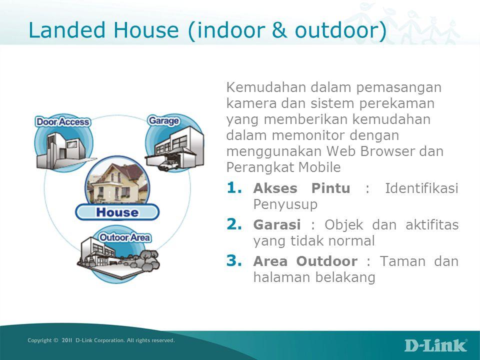 Landed House (indoor & outdoor) Kemudahan dalam pemasangan kamera dan sistem perekaman yang memberikan kemudahan dalam memonitor dengan menggunakan Web Browser dan Perangkat Mobile 1.