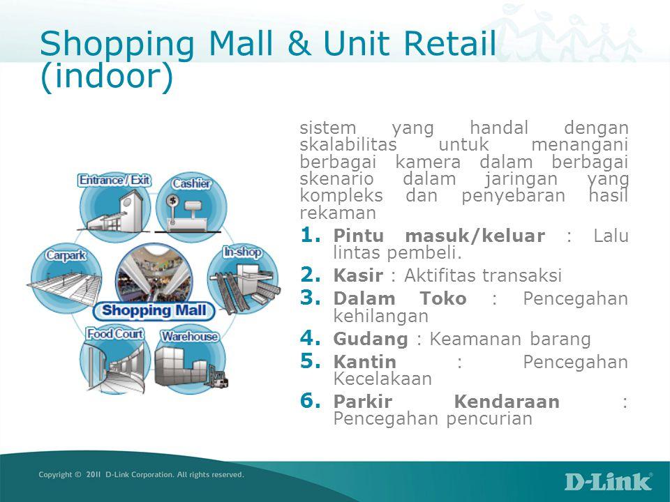 Shopping Mall & Unit Retail (indoor) sistem yang handal dengan skalabilitas untuk menangani berbagai kamera dalam berbagai skenario dalam jaringan yang kompleks dan penyebaran hasil rekaman 1.
