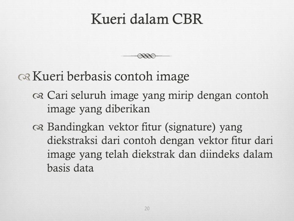 Kueri dalam CBRKueri dalam CBR  Kueri berbasis contoh image  Cari seluruh image yang mirip dengan contoh image yang diberikan  Bandingkan vektor fitur (signature) yang diekstraksi dari contoh dengan vektor fitur dari image yang telah diekstrak dan diindeks dalam basis data 20