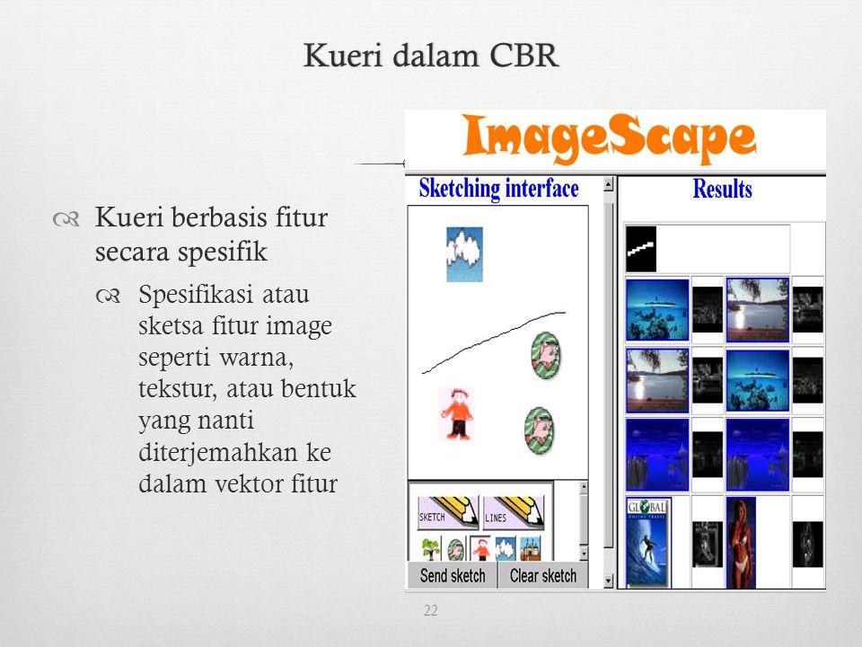 Kueri dalam CBRKueri dalam CBR  Kueri berbasis fitur secara spesifik  Spesifikasi atau sketsa fitur image seperti warna, tekstur, atau bentuk yang nanti diterjemahkan ke dalam vektor fitur 22