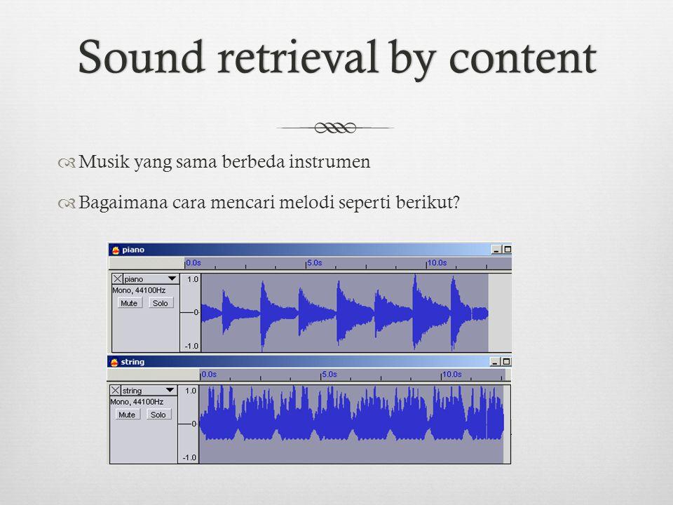 Sound retrieval by contentSound retrieval by content  Musik yang sama berbeda instrumen  Bagaimana cara mencari melodi seperti berikut