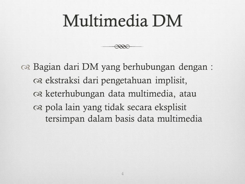 Multimedia DMMultimedia DM  Bagian dari DM yang berhubungan dengan :  ekstraksi dari pengetahuan implisit,  keterhubungan data multimedia, atau  pola lain yang tidak secara eksplisit tersimpan dalam basis data multimedia 4