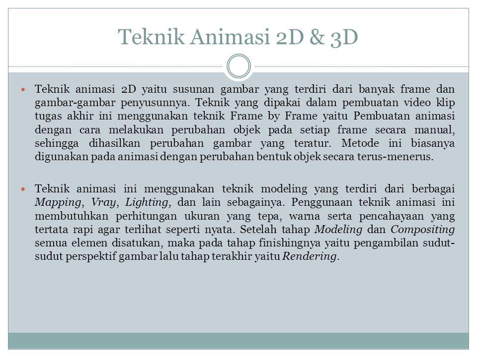 Teknik Animasi 2D & 3D  Teknik animasi 2D yaitu susunan gambar yang terdiri dari banyak frame dan gambar-gambar penyusunnya. Teknik yang dipakai dala