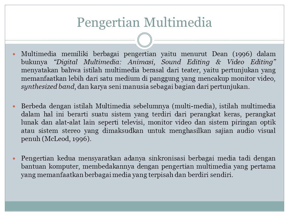 """Pengertian Multimedia  Multimedia memiliki berbagai pengertian yaitu menurut Dean (1996) dalam bukunya """"Digital Multimedia: Animasi, Sound Editing &"""