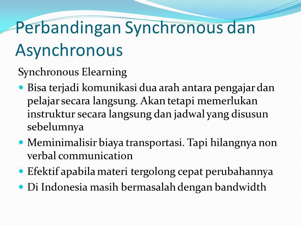 Perbandingan Synchronous dan Asynchronous Synchronous Elearning  Bisa terjadi komunikasi dua arah antara pengajar dan pelajar secara langsung. Akan t