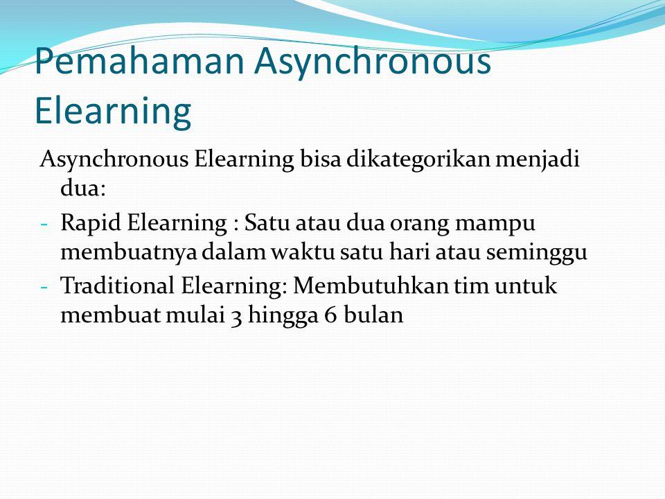 Pemahaman Asynchronous Elearning Asynchronous Elearning bisa dikategorikan menjadi dua: - Rapid Elearning : Satu atau dua orang mampu membuatnya dalam