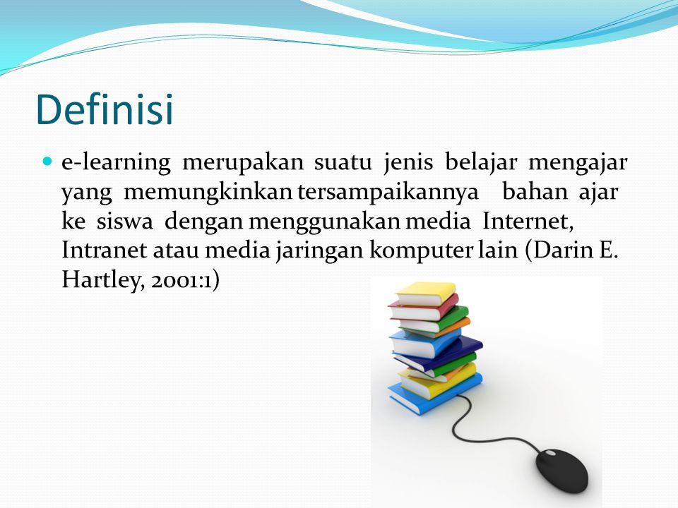 Definisi  e-learning merupakan suatu jenis belajar mengajar yang memungkinkan tersampaikannya bahan ajar ke siswa dengan menggunakan media Internet,