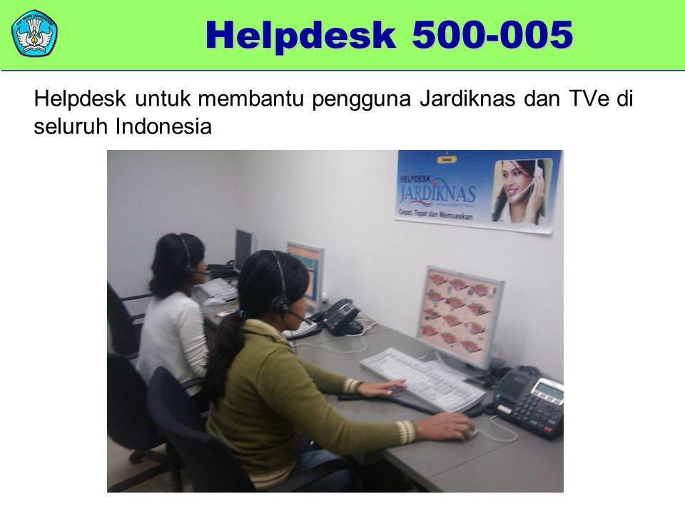 memberikan added value Helpdesk untuk membantu pengguna Jardiknas dan TVe di seluruh Indonesia Helpdesk 500-005
