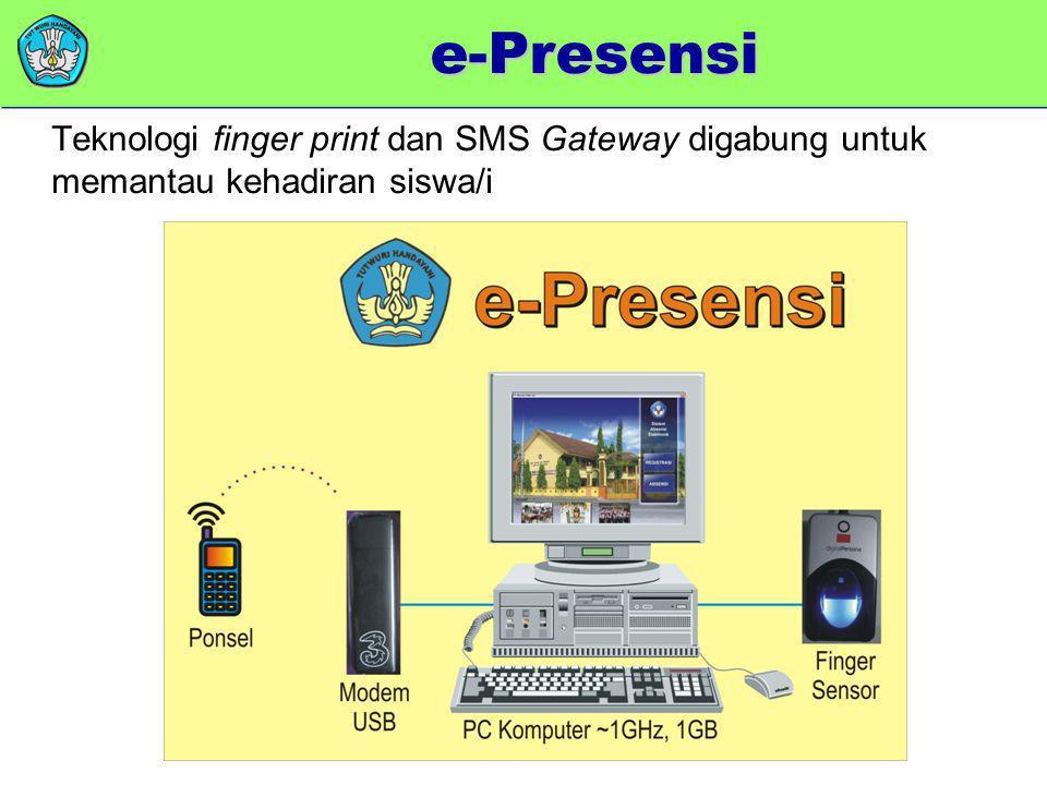 memberikan added value Teknologi finger print dan SMS Gateway digabung untuk memantau kehadiran siswa/i e-Presensi