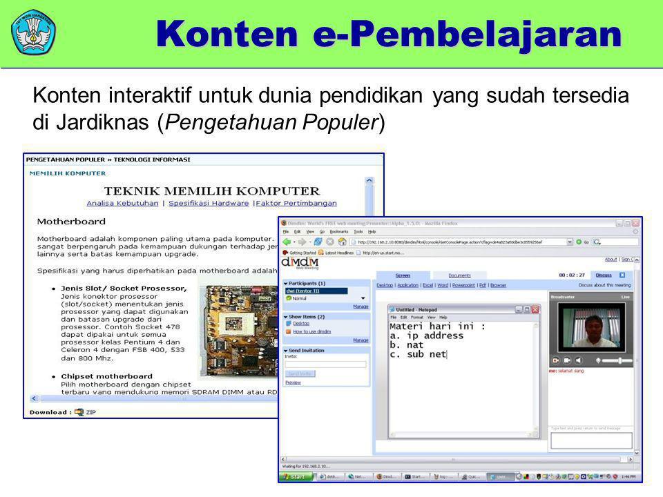 Bimbel Online Pengetahuan Populer Konten e-Pembelajaran Konten interaktif untuk dunia pendidikan yang sudah tersedia di Jardiknas (Pengetahuan Populer