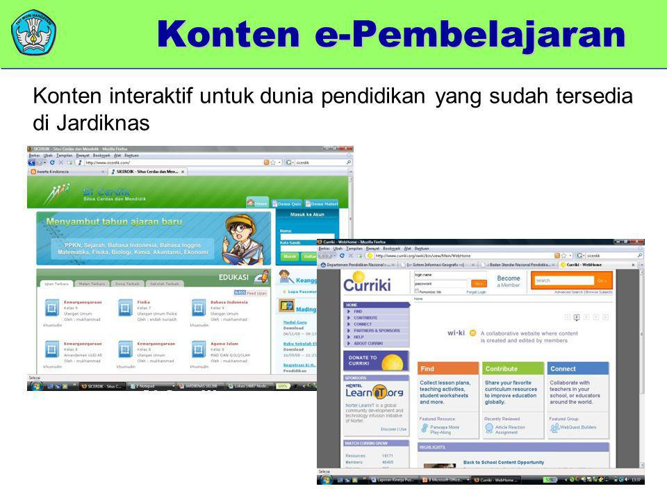 Curriki Si Cerdik Konten e-Pembelajaran Konten interaktif untuk dunia pendidikan yang sudah tersedia di Jardiknas