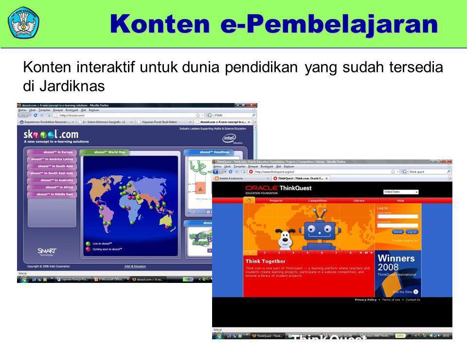 Skoool Think Quest Konten e-Pembelajaran Konten interaktif untuk dunia pendidikan yang sudah tersedia di Jardiknas