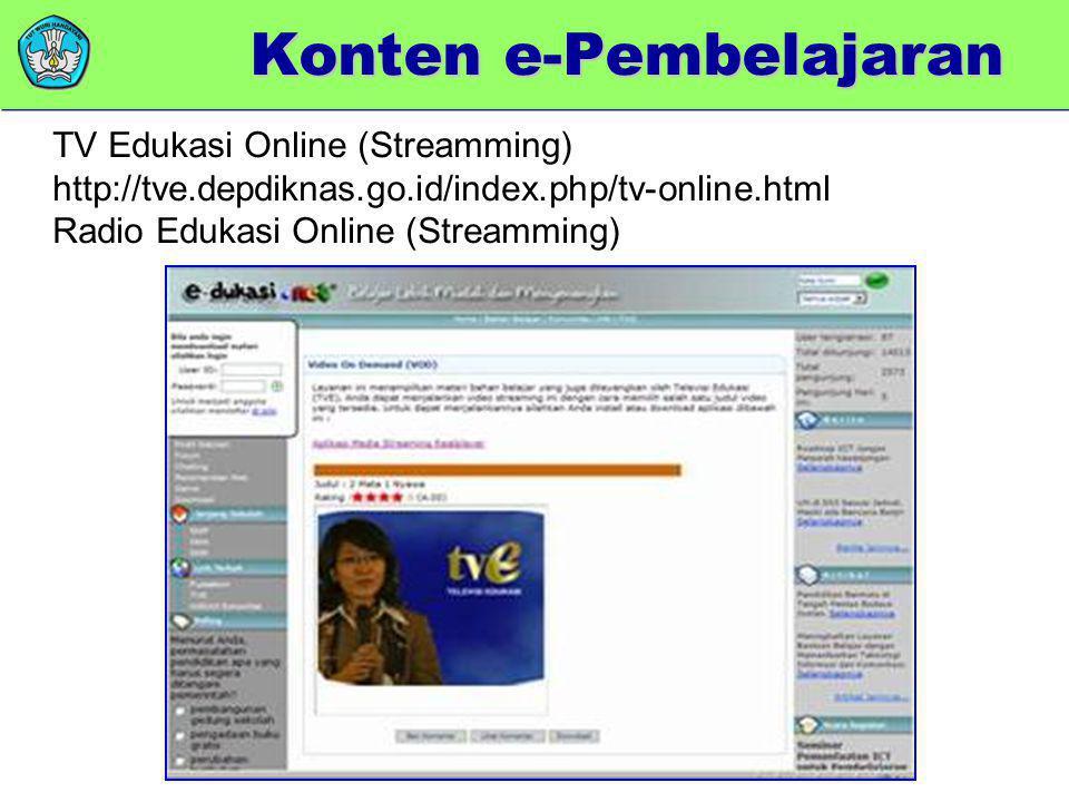 TV Edukasi Online (Streamming) http://tve.depdiknas.go.id/index.php/tv-online.html Radio Edukasi Online (Streamming) Konten e-Pembelajaran