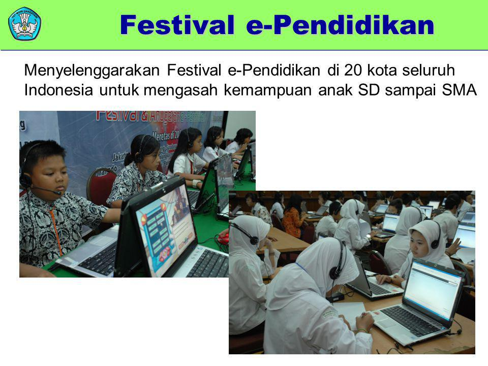 memberikan added value Menyelenggarakan Festival e-Pendidikan di 20 kota seluruh Indonesia untuk mengasah kemampuan anak SD sampai SMA Festival e-Pend