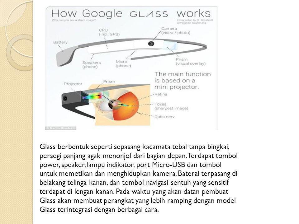 Glass berbentuk seperti sepasang kacamata tebal tanpa bingkai, persegi panjang agak menonjol dari bagian depan.