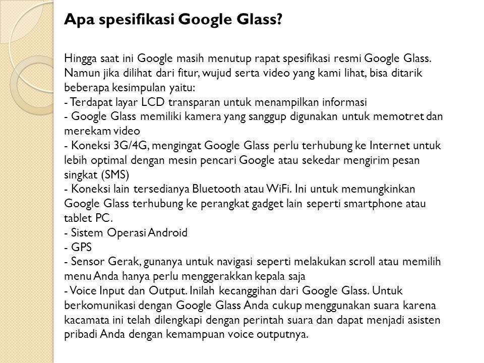 Apa spesifikasi Google Glass.