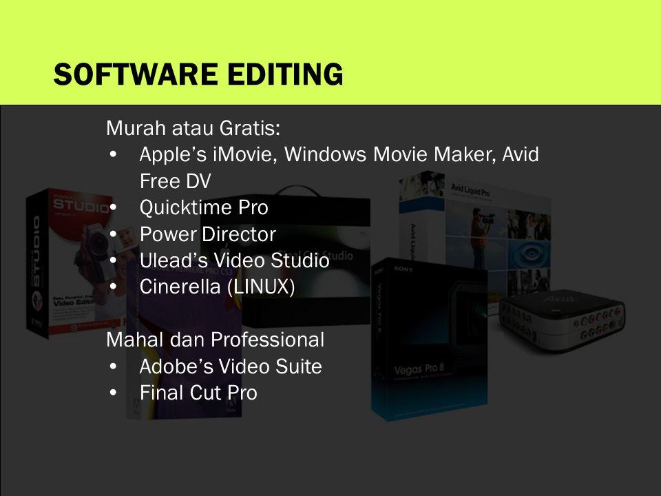 Murah atau Gratis: •Apple's iMovie, Windows Movie Maker, Avid Free DV •Quicktime Pro •Power Director •Ulead's Video Studio •Cinerella (LINUX) Mahal dan Professional •Adobe's Video Suite •Final Cut Pro