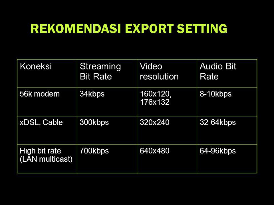 KoneksiStreaming Bit Rate Video resolution Audio Bit Rate 56k modem34kbps160x120, 176x132 8-10kbps xDSL, Cable300kbps320x24032-64kbps High bit rate (LAN multicast) 700kbps640x48064-96kbps REKOMENDASI EXPORT SETTING