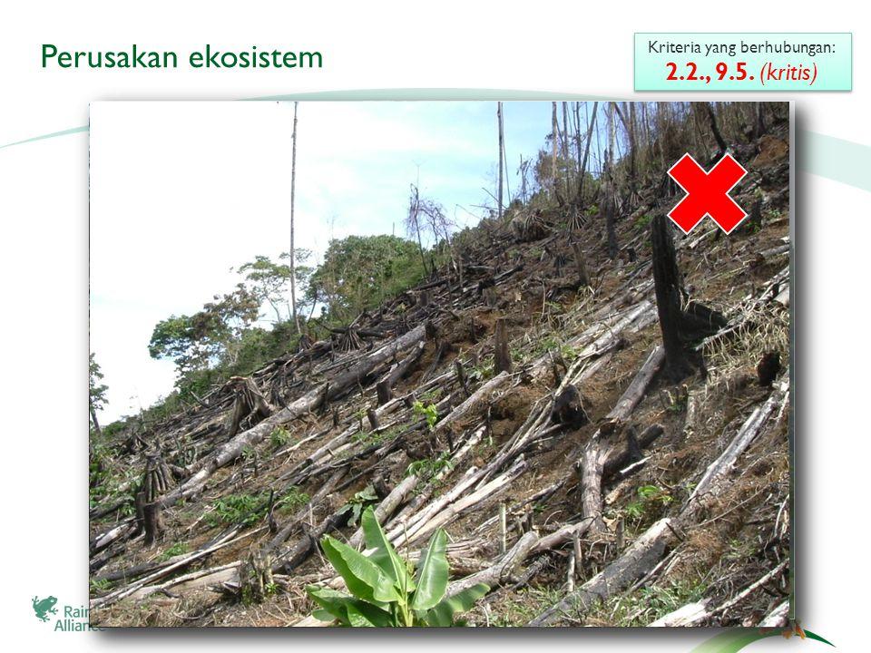 3 Perusakan ekosistem Kriteria yang berhubungan: 2.2., 9.5.
