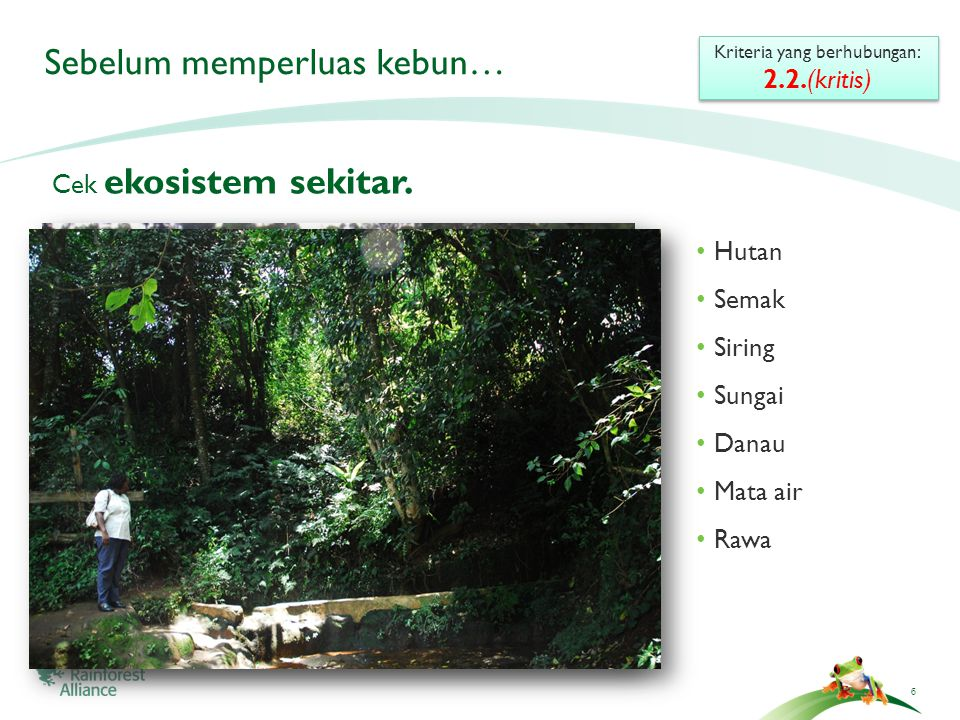 6 Sebelum memperluas kebun… Cek ekosistem sekitar.