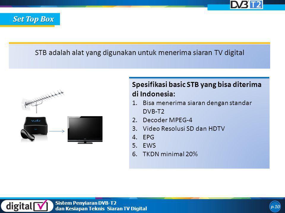 Sistem Penyiaran DVB-T2 dan Kesiapan Teknis Siaran TV Digital p. 10 Set Top Box STB adalah alat yang digunakan untuk menerima siaran TV digital Spesif