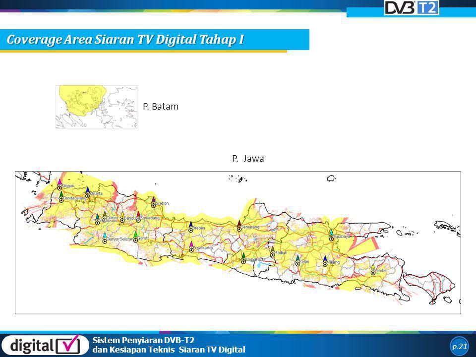 P. Batam P. Jawa Sistem Penyiaran DVB-T2 dan Kesiapan Teknis Siaran TV Digital p. 21 Coverage Area Siaran TV Digital Tahap I