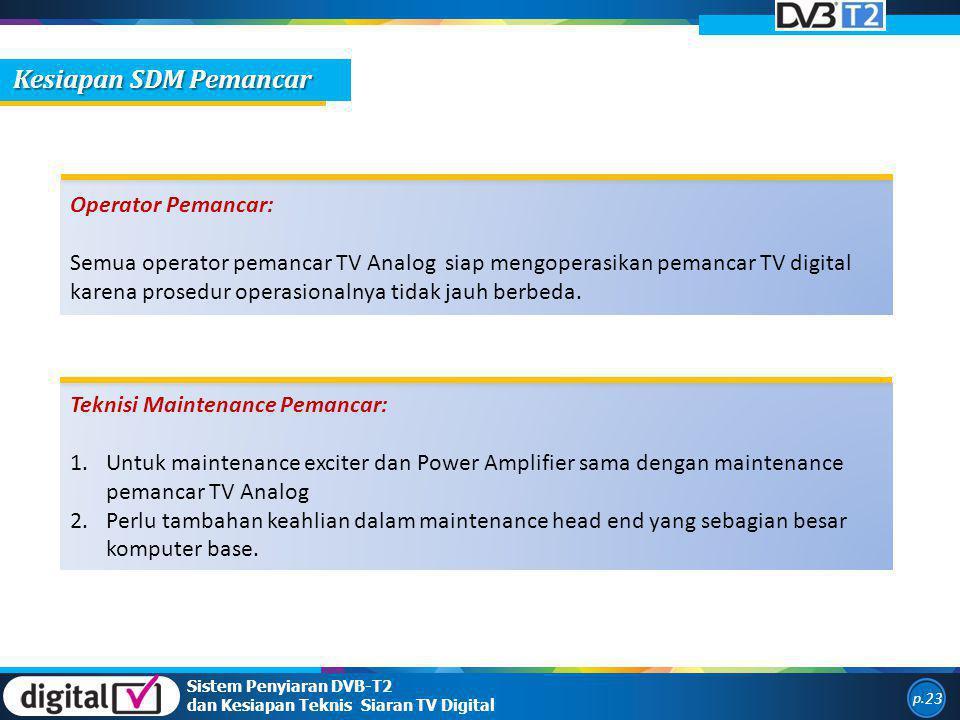 Sistem Penyiaran DVB-T2 dan Kesiapan Teknis Siaran TV Digital p. 23 Operator Pemancar: Semua operator pemancar TV Analog siap mengoperasikan pemancar