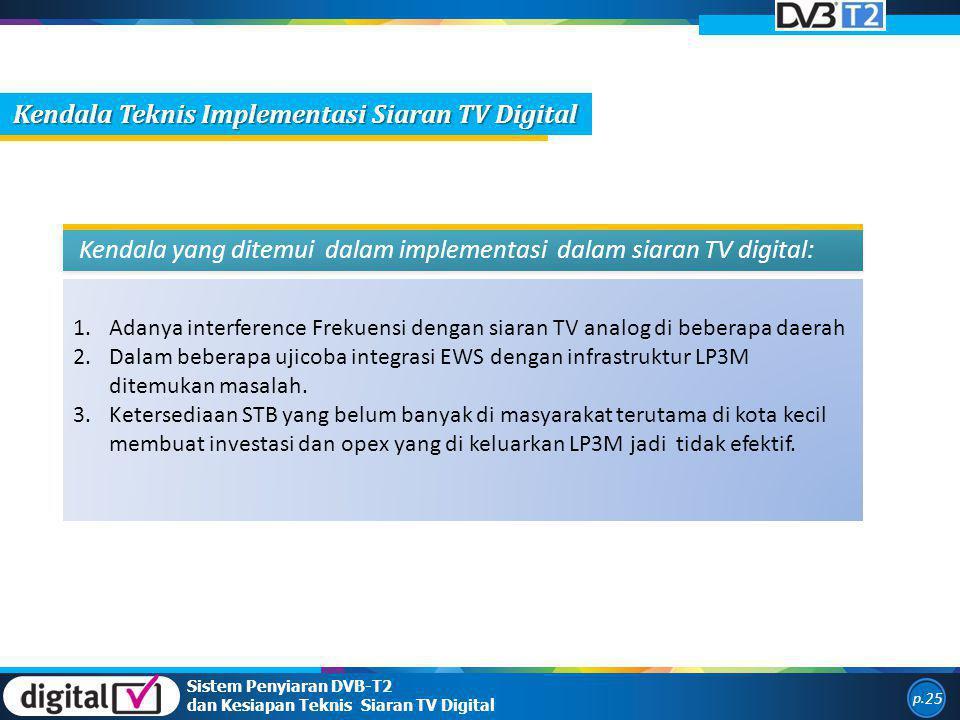 1.Adanya interference Frekuensi dengan siaran TV analog di beberapa daerah 2.Dalam beberapa ujicoba integrasi EWS dengan infrastruktur LP3M ditemukan