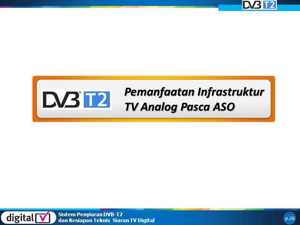 Pemanfaatan Infrastruktur TV Analog Pasca ASO Sistem Penyiaran DVB-T2 dan Kesiapan Teknis Siaran TV Digital p. 26