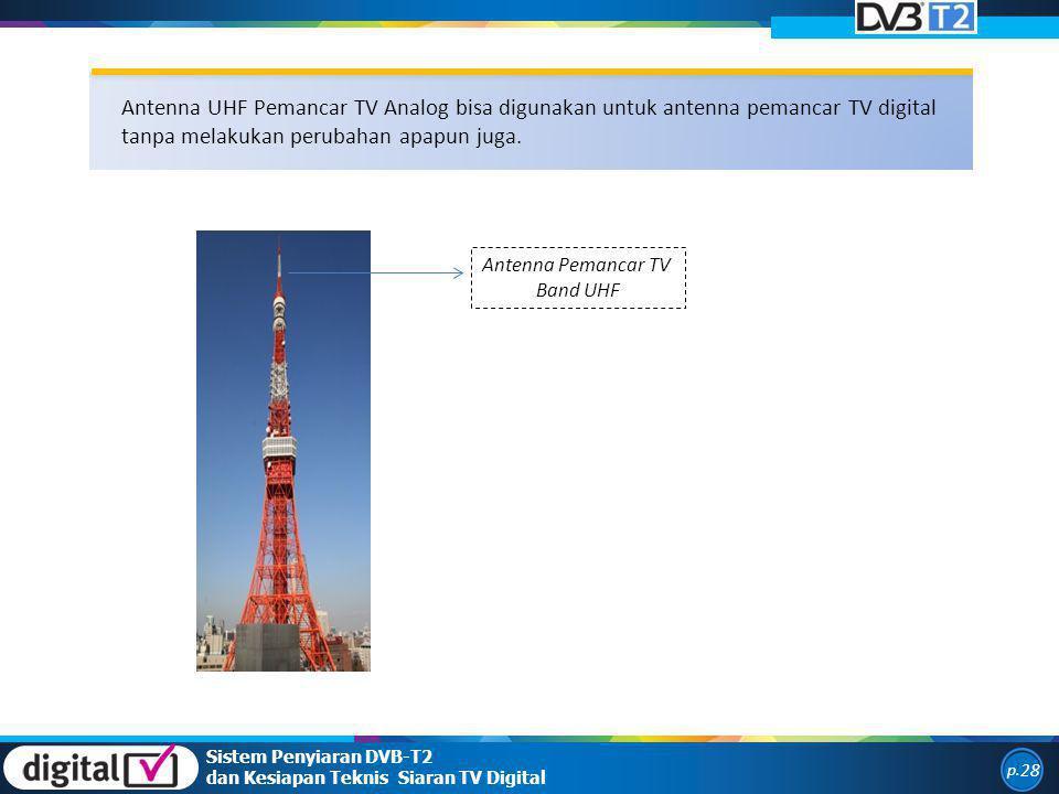 Sistem Penyiaran DVB-T2 dan Kesiapan Teknis Siaran TV Digital p. 28 Antenna UHF Pemancar TV Analog bisa digunakan untuk antenna pemancar TV digital ta