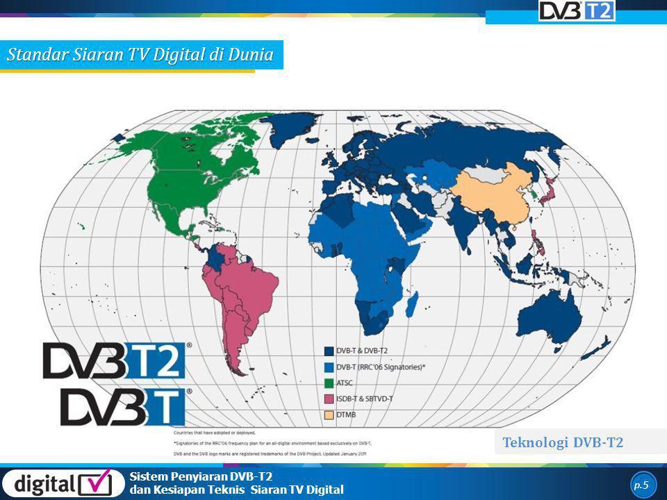 Standar Siaran TV Digital di Dunia Teknologi DVB-T2 p. 5 Sistem Penyiaran DVB-T2 dan Kesiapan Teknis Siaran TV Digital