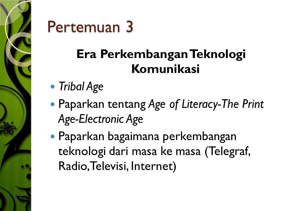 Pertemuan 3 Era Perkembangan Teknologi Komunikasi  Tribal Age  Paparkan tentang Age of Literacy-The Print Age-Electronic Age  Paparkan bagaimana perkembangan teknologi dari masa ke masa (Telegraf, Radio,Televisi, Internet)