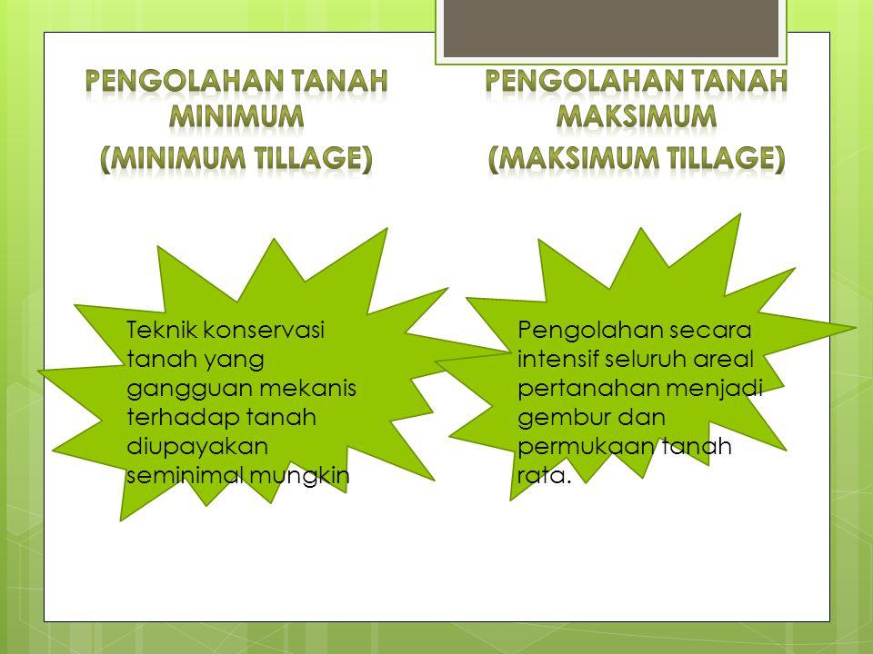 Teknik konservasi tanah yang gangguan mekanis terhadap tanah diupayakan seminimal mungkin Pengolahan secara intensif seluruh areal pertanahan menjadi