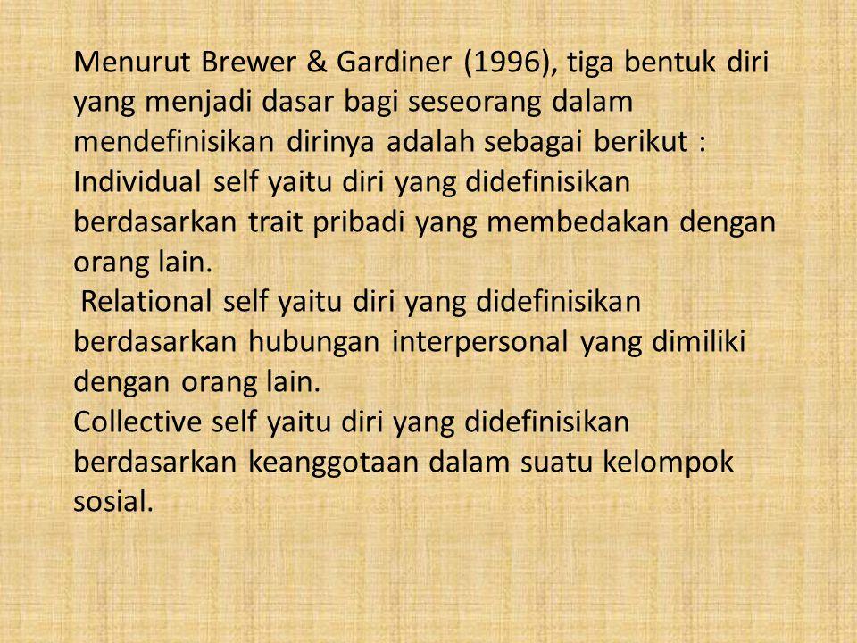 Menurut Brewer & Gardiner (1996), tiga bentuk diri yang menjadi dasar bagi seseorang dalam mendefinisikan dirinya adalah sebagai berikut : Individual