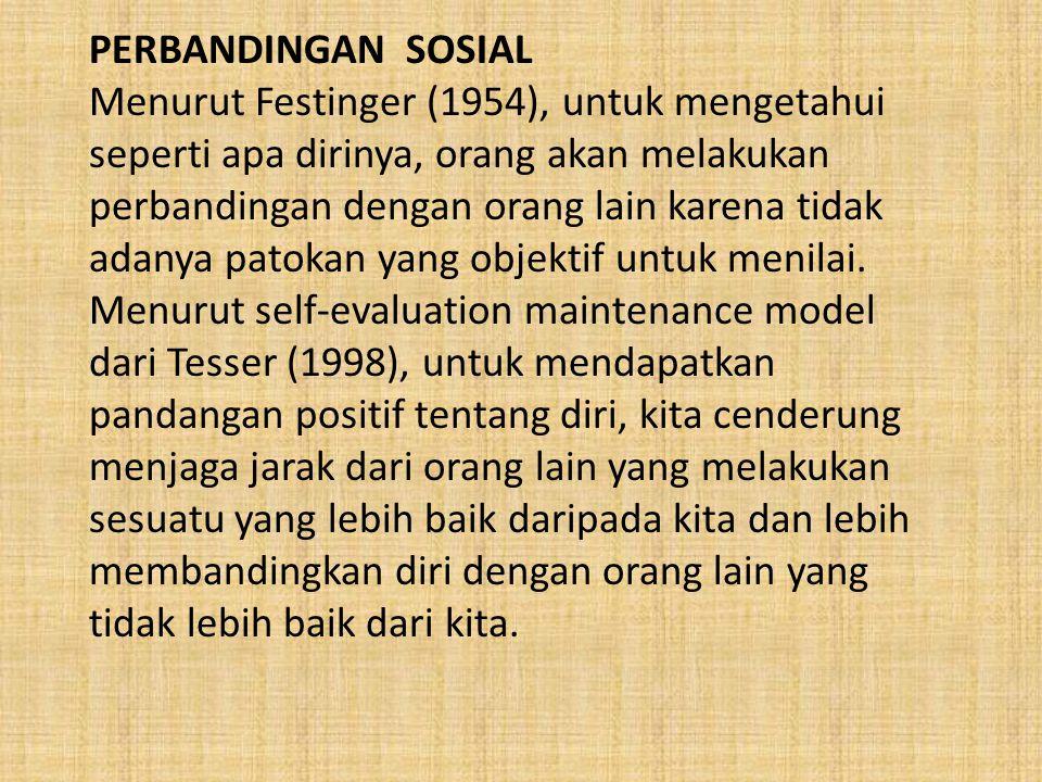 PERBANDINGAN SOSIAL Menurut Festinger (1954), untuk mengetahui seperti apa dirinya, orang akan melakukan perbandingan dengan orang lain karena tidak a